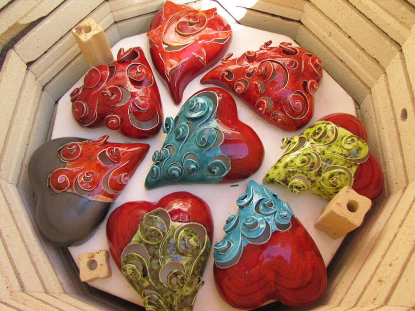 Glaze Firing of Small Hearts Ready to be Unloaded from the Large Kiln