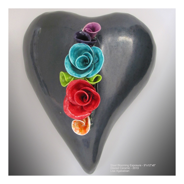 Steel Blooming Exposure Large Heart Wall Hanging