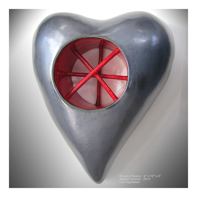 Wheel Of Illusion Wall Heart Sculpture