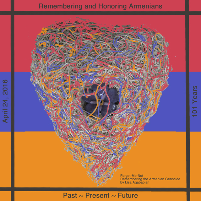 2016 Armenian Genocied 101 Years - ForgetMeNot Heart Poster