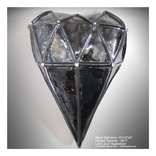 2017 Black Diamond Large Heart Wall Sculpture