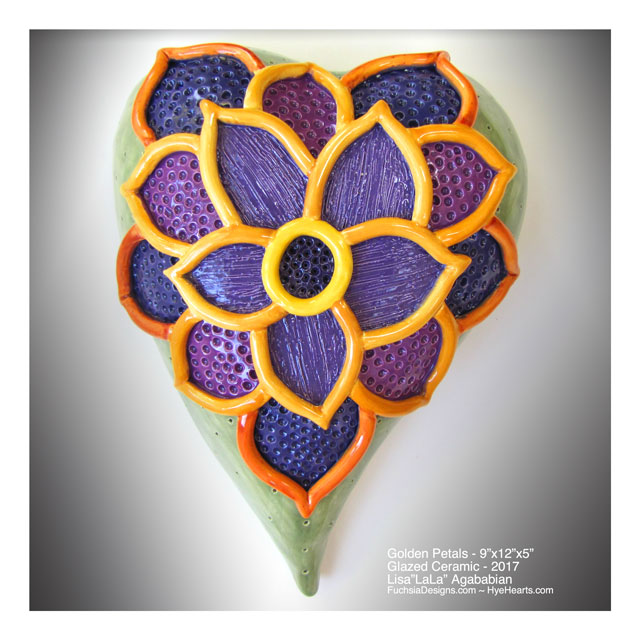 2017 Golden Petals Large Ceramic Heart Wall Hanging