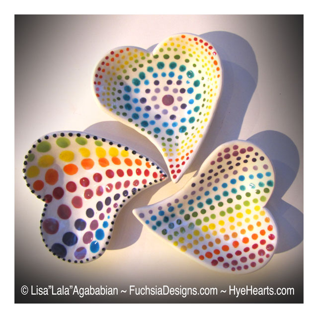 2018 4x4.5 Heart shaped Dot Dishes