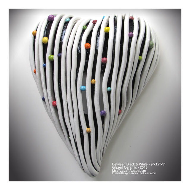 2018 Between Black & White Heart Wall Sculpture