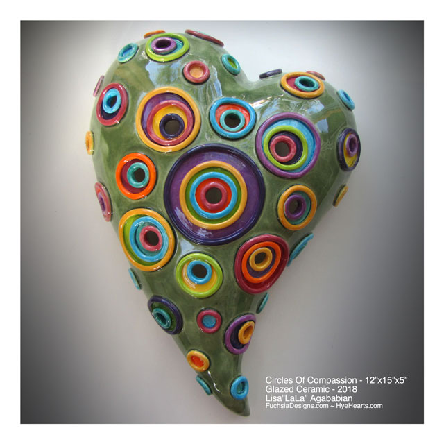 2018 Circles Of Compassion X-Large Ceramic Heart Wall Sculpture