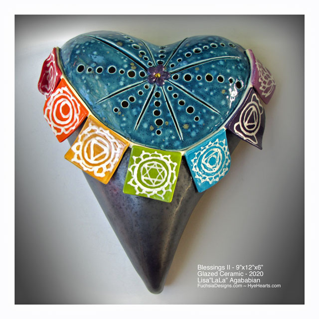 2020 Blessings II Ceramic Heart Wall Sculpture