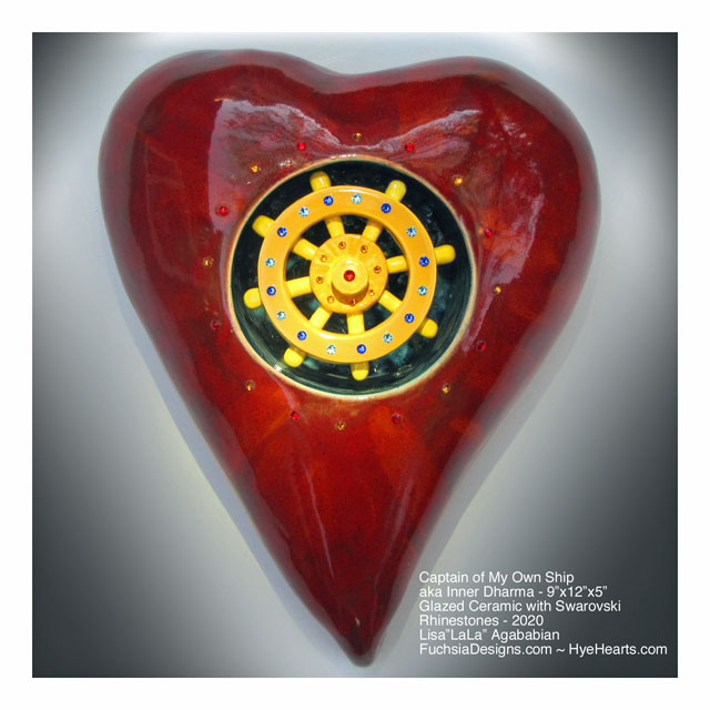 2020 Captain of my Own Ship Ceramic Heart Wall Sculpture
