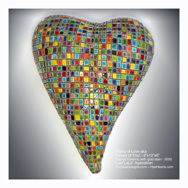2020 Matrix of Love aka Pieces of YOU Large Ceramic Heart Wall Scupture