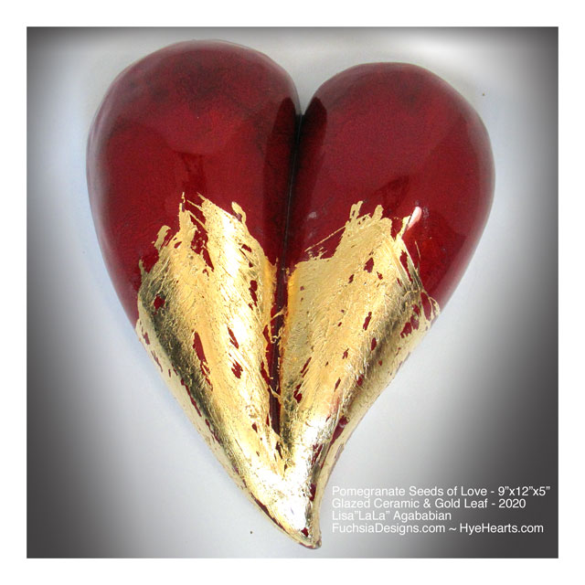 2020 Pomegranate Seeds of Love Ceramic Heart Wall Sculpture