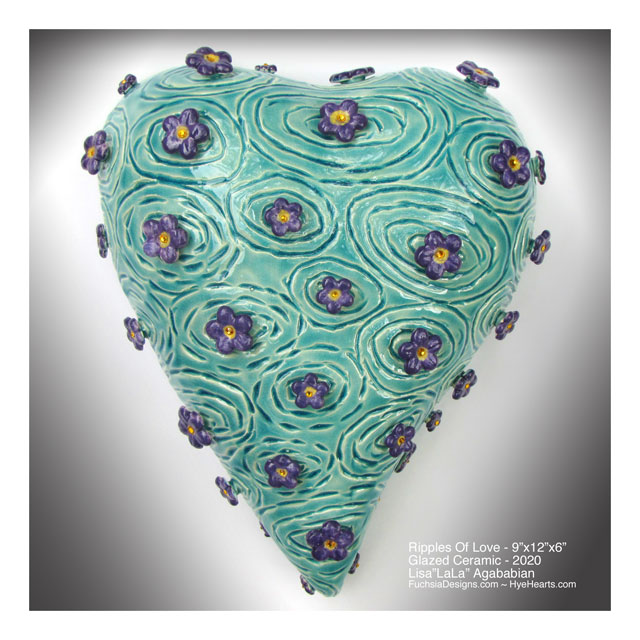 2020 Ripples of Love Ceramic Heart Wall Sculpture