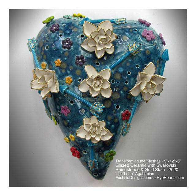 2020 Transforming The Kleshas Ceramic Heart Wall Sculpture