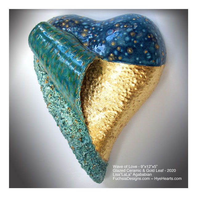 2020 Wave of Love Ceramic Heart Wall Sculpture